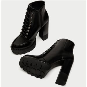 Lace up black ankle boots